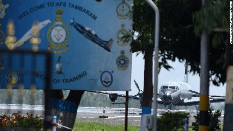 An Indian Air Force plane prepares to take off in the search for the missing AN-32.