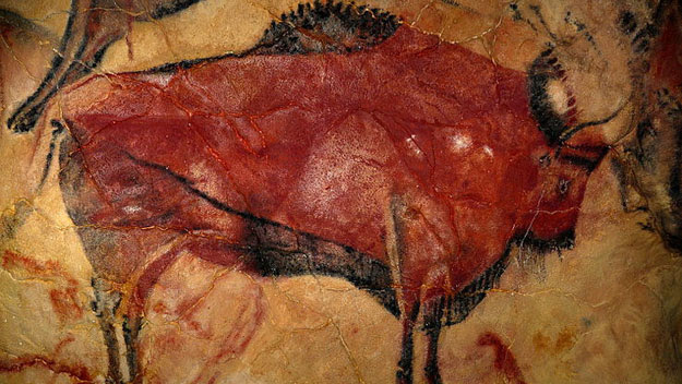 Painting of a bison in the cave of Altamira