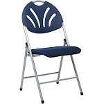 Folding Chair with Plastic Fan Back - Set of 4, Silver