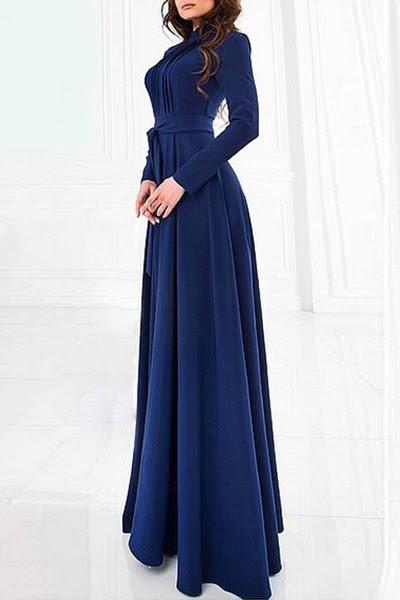 لون الصلبة حامل الرقبة كم طويل فستان ماكسي