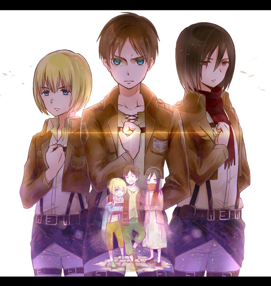 Armin Eren And Mikasa Shingeki No Kyojin Attack On Titan Fan Art 36796235 Fanpop