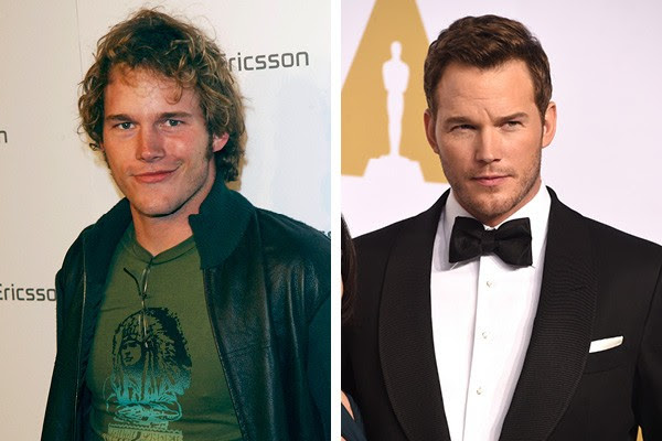 Chris Pratt em 2003 e em 2015 (Foto: Getty Images)