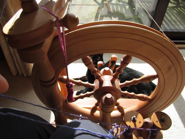 Bare Naked Knitspot spinning purple yarn Feb 2014 (8)