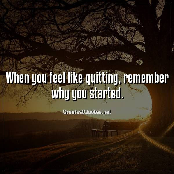 When You Feel Like Quitting Remember Why You Started Free Life