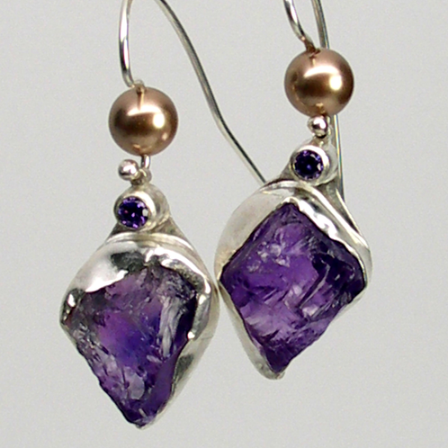 Rough Amethyst Earrings | Laura Stamper Designs, Art jewelry, Minnesota, contemporary enamels,