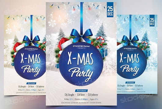 Blue Xmas Party -Download Free PSD Flyer Template - Free PSD Flyer Templates to Download for Photoshop!