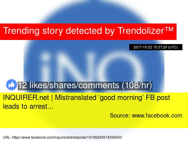 Inquirernet Mistranslated Good Morning Fb Post Leads To Arrest