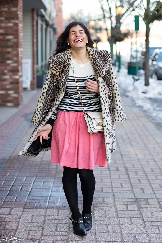 pink skirt, stripes, leopard coat.jpg