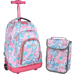 """JWorld Lollipop 16"""" Rolling Backpack with Lunch Kit - Pink/Blue"""