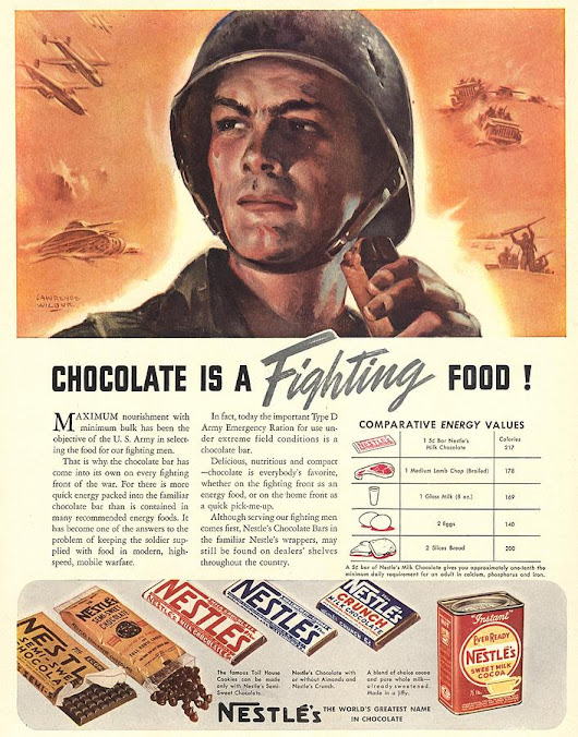 """Chocolate is a fighting food !"", 1940 [WWII, Advertisement] - Imgur"