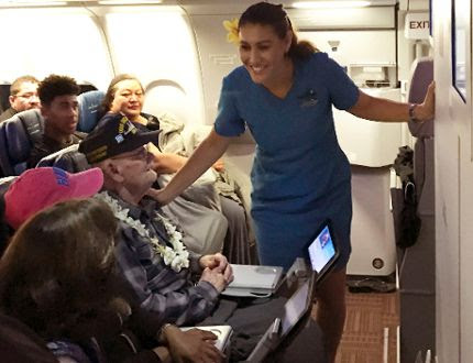 Pearl Harbor survivor honoured with inflight hula, song