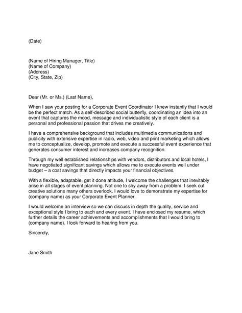 Hotel event planner cover letter. Event planning job Learn