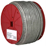 """Campbell 7000497 Galvanized Cable, 1/8"""" X 250', Clear Vinyl Coated"""