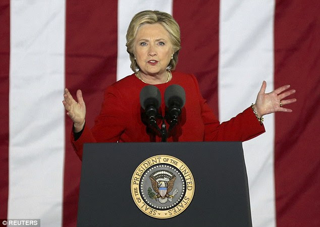 Clintonurged voters to go to the polling stations on Election Day, telling the crowd they had 'a choice between division and unity