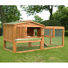 "Pawhut 62"" Outdoor Guinea Pig Pet House/Rabbit Hutch Habitat with Run, Brown"