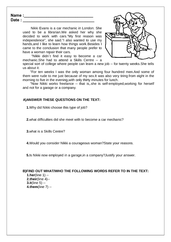 Jobs Reading Prehension Worksheet