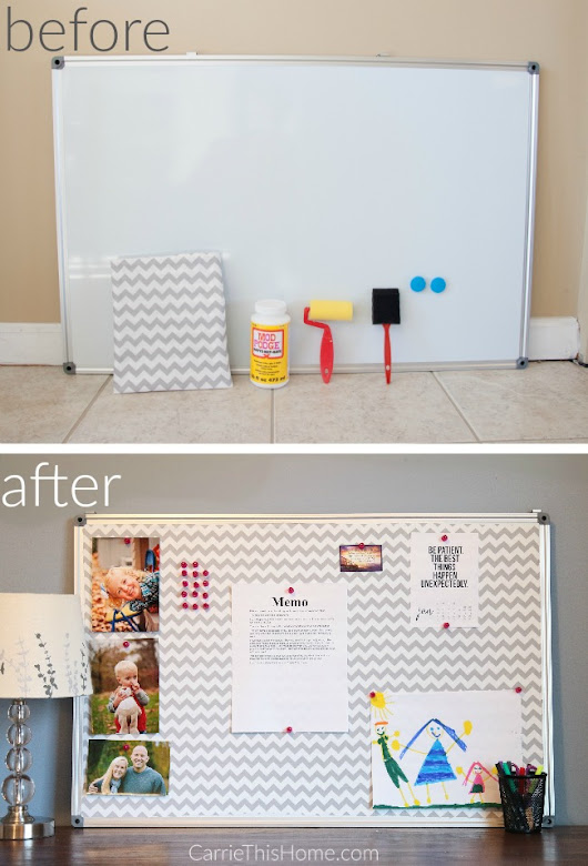 DIY Fabric Covered Bulletin Board - Carrie This Home