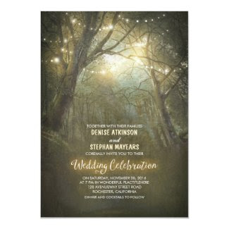 Rustic Woodland String Lights Wedding Invite