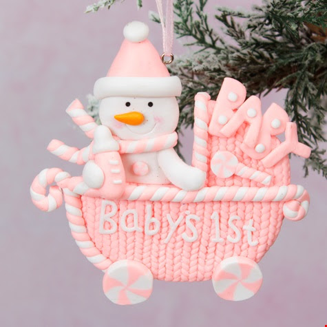 Babys First Christmas Pram Tree Ornament Pink