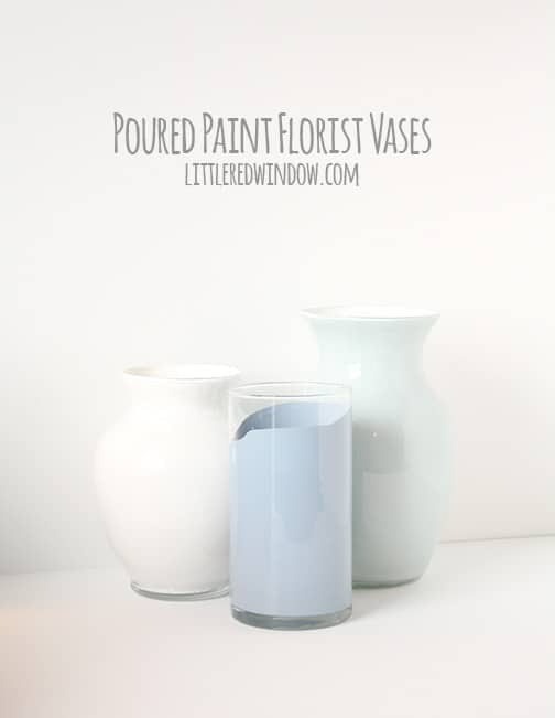 Poured Paint Florist Vase | littleredwindow.com | A simple and beautiful way to spruce up a plain clear glass florist vase!