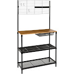 "Honey Can Do 65"" Bakers Rack with Cutting Board & Hanging Storage - Black"