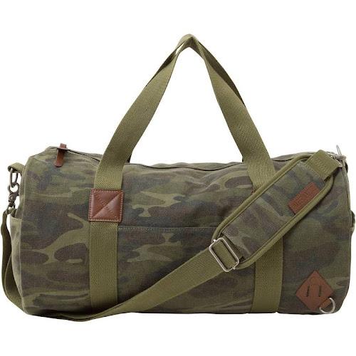 Basic Cotton Barrel Duffel Bag, Camouflage Green