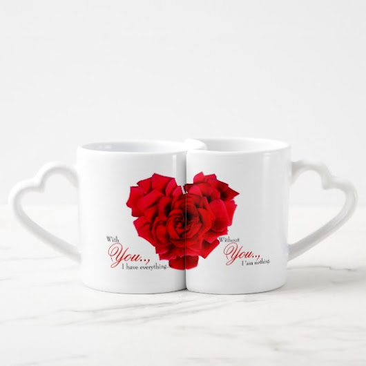 Red rose heart shaped lovers mug
