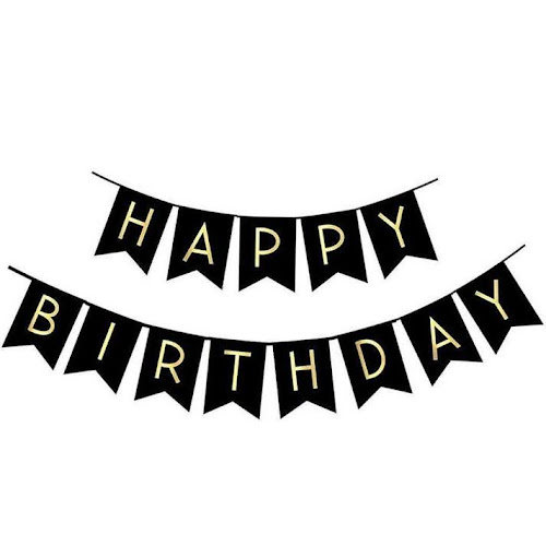 fecedy black happy birthday bunting banner w shiny gold letters party supplies