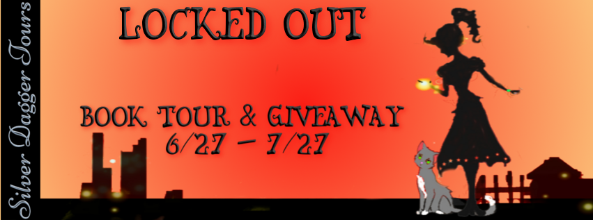 Book Banner for Book Tour Giveaway for Cozy Mystery Locked Out, from the Welcome to Rebuild series, by L.M. Schukraft