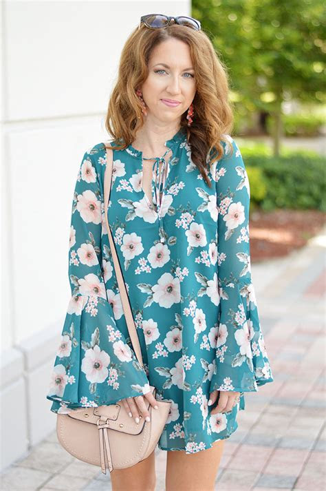 floral bell sleeve dress law  fashion blog