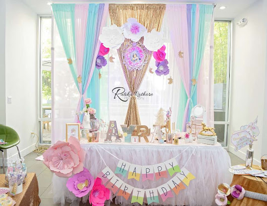 "Unicorn / Birthday ""Ayra's Dazzling Rainbow Party:'I believe in magic' "" 