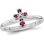 Lab Created Ruby Cross Ring 1/8 Carat (ctw) in Sterling Silver