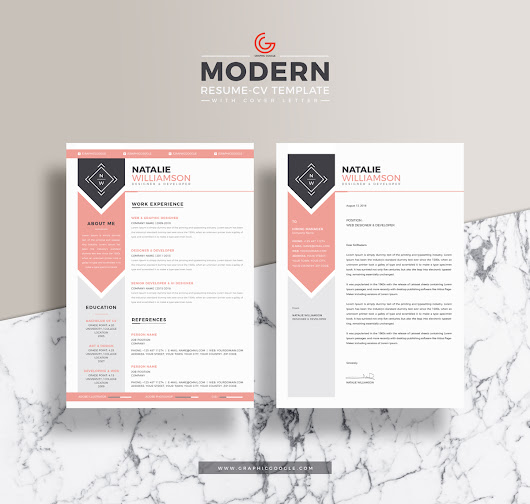 Free Modern Resume CV Template For Designers and Developers With Cover Letter - Graphic Google - Tasty Graphic Designs Collection