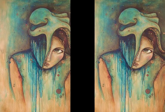 Oil Paintings: Love Sticks, Sweat Drips (self-portrait) by Chantelle Petith