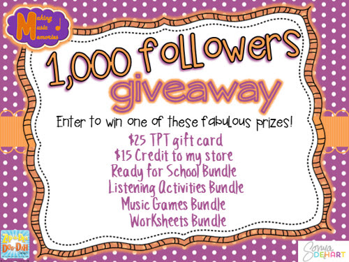1,000 TpT followers Giveaway