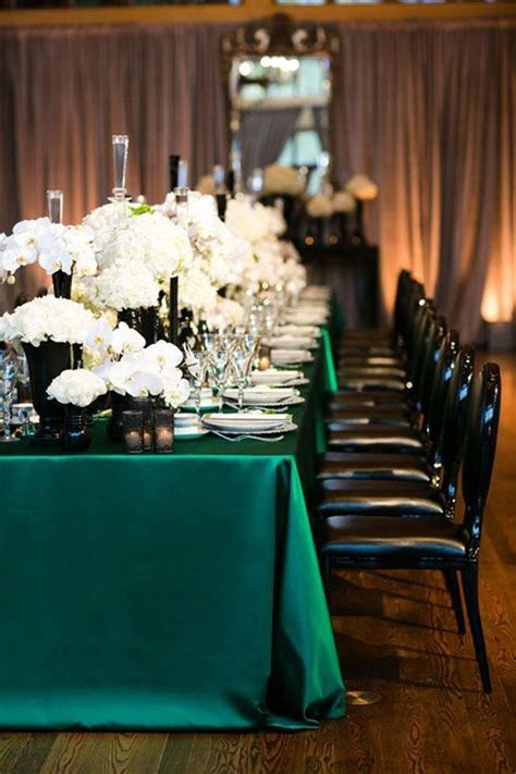 Glamorous Emerald, Black, and White Wedding Table with