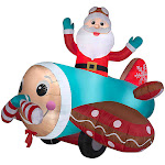 Gemmy G08 12450X Animated Gingerbread Airplane with Santa - Multicolor