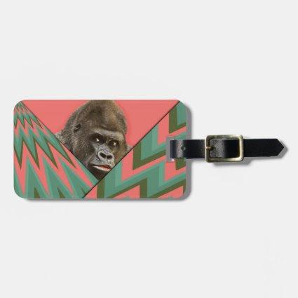 Funny Gorilla Pink Green Chevron Luggage Tag