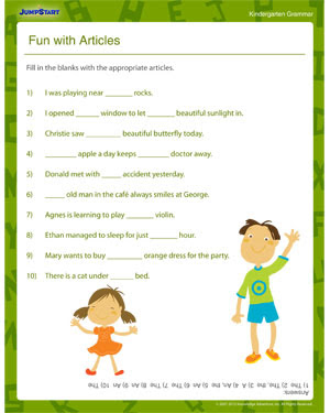 Fun With Articles Printable Grammar Worksheets For Kindergarten