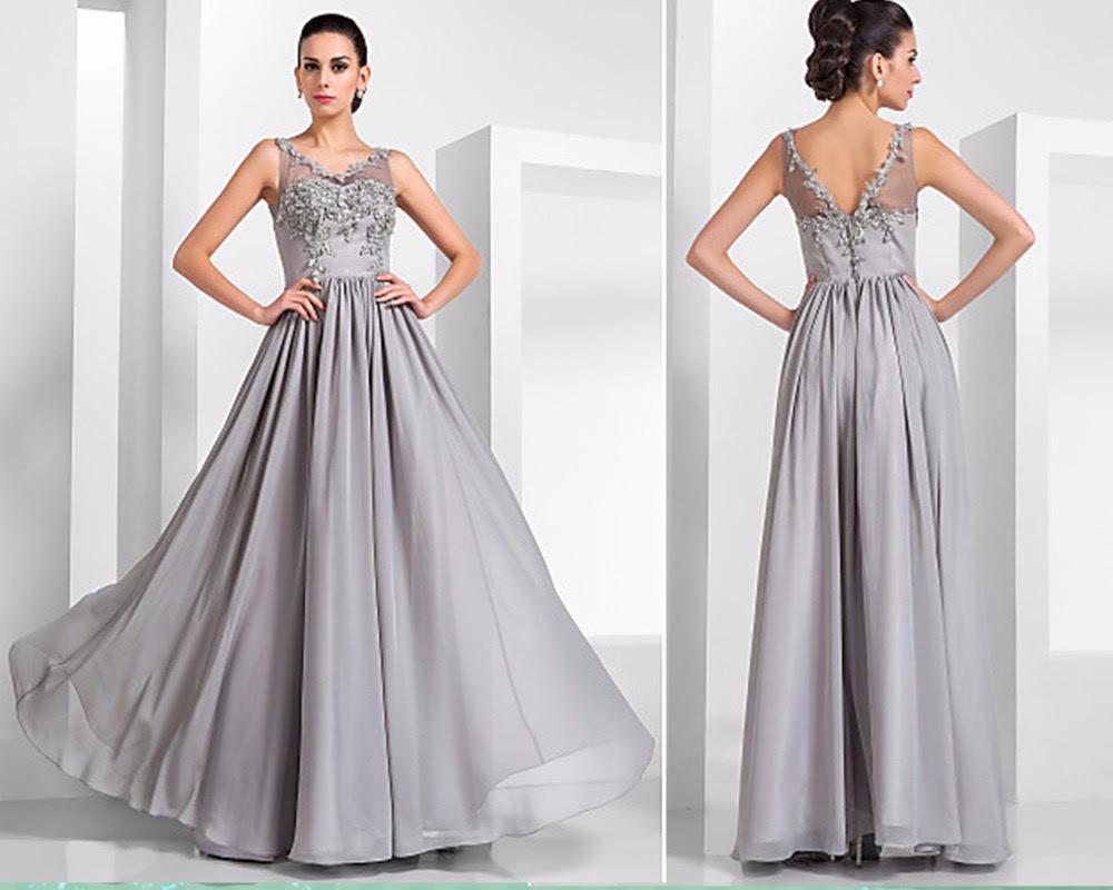 Vintage silver evening dresses