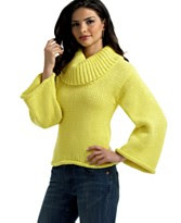 525 America Bell-Sleeve Wide-Turtleneck Sweater