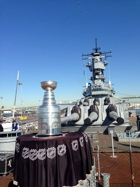 The Stanley Cup is displayed aboard the USS Iowa in San Pedro, on January 16, 2013.
