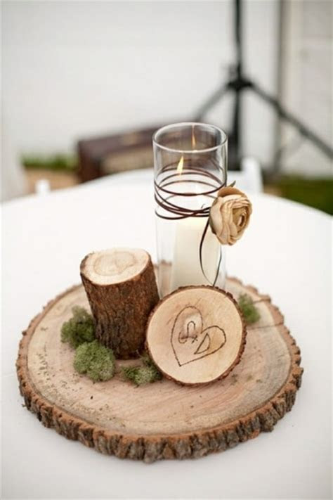centros de mesa  base em tronco de madeira