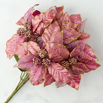 Glittered Light Purple Artificial Poinsettia Bush, 14'' long, Craft Supplies