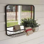 Rectangle Mirror with Wire Basket Shelf