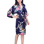 Floral Bride and Bridesmaid Robes, Blue-White, 2T-38 Womens Plus, Satin, MidLength, Navy Blue / Girls 6 (Ages 3-5) from Gifts Are Blue