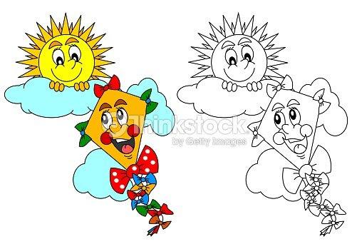 Sonriendo Sol Y La Cometa Como Para Niños Para Colorear Ilustración