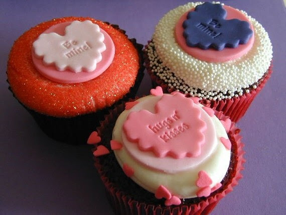 Fondant Valentines Day Conversation Heart Cupcake Toppers Treats