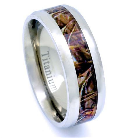 Men's Camo Hunters Wedding Band 8mm Comfort Fit Tree Wood