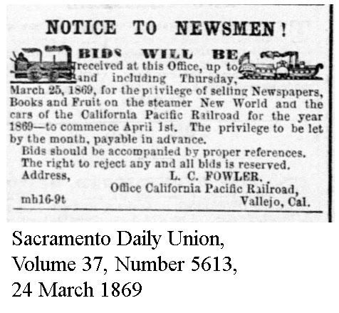 Bids for Newspaper concession on New World and CalP Trains - Sacramento Daily Union, Volume 37, Number 5613, 24 March 1869.